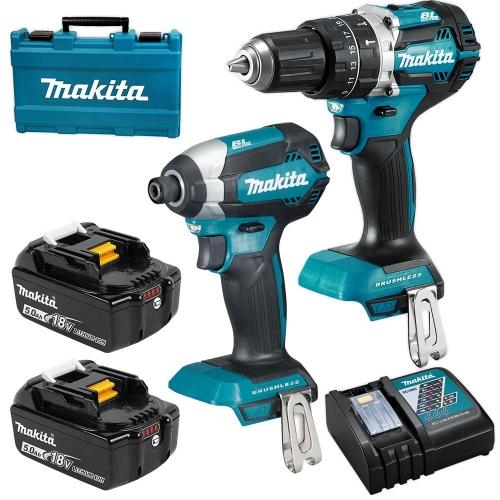 Kit Makita 18V BrushLess Taladro Percutor + Atornillador DLX2180TX