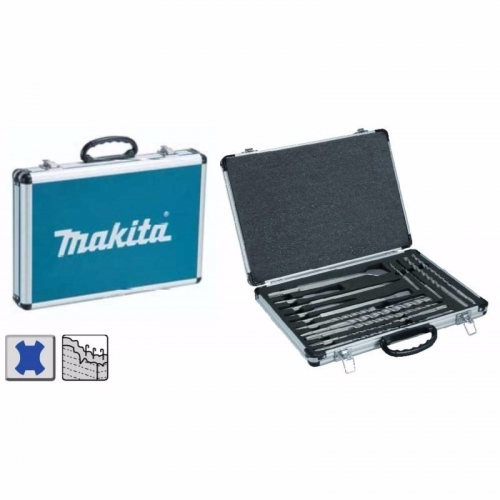 Set Brocas Makita + Puntos + Cinceles + Caja Metal 17pcs D-42145